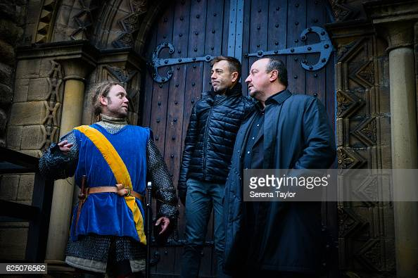 Newcastle Manager Rafael Benitez stands on the top of the steps to the Castle Keep talking to a swordsman and Newcastle United's Assistant Manager...