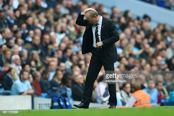 Newcastle manager Steve McClaren looks dejected during the Barclays Premier League match between Manchester City and Newcastle United at Etihad...
