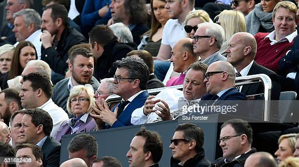 Newcastle owner Mike Ashley chats with Lee Charnley during the Premier League match between Newcastle United and Tottenham Hotspur at St James' Park...