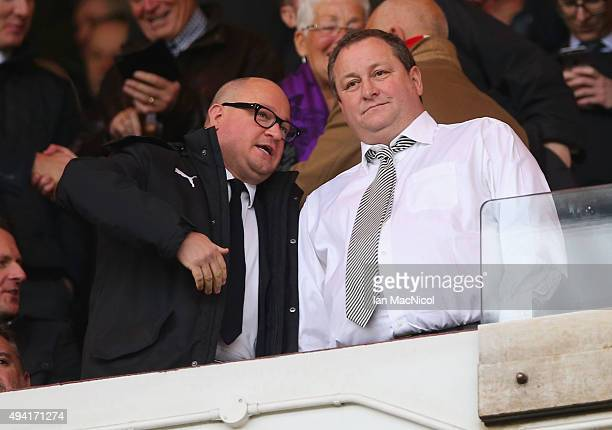 Newcastle owner Mike Ashley stands alongside Managing Director Lee Charnley prior to the Barclays Premier League match between Sunderland and...