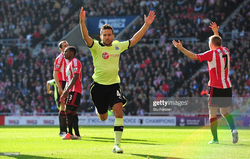 Newcastle palyer <a gi-track='captionPersonalityLinkClicked' href=/galleries/search?phrase=Yohan+Cabaye&family=editorial&specificpeople=648909 ng-click='$event.stopPropagation()'>Yohan Cabaye</a> celebrates the first goal during the Barclays Premier league match between Sunderland and Newcastle United at Stadium of Light on October 21, 2012 in Sunderland, England.