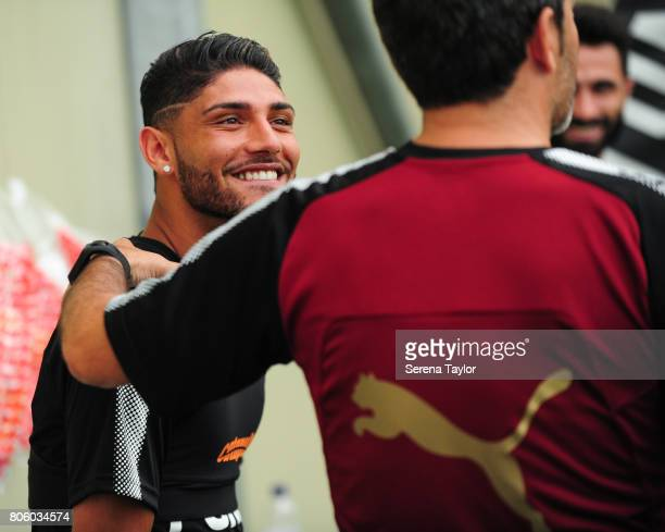 Newcastle player Achraf Lazaar laughs during the Newcastle United Training Session at the Newcastle United Training Centre on July 3 in Newcastle...
