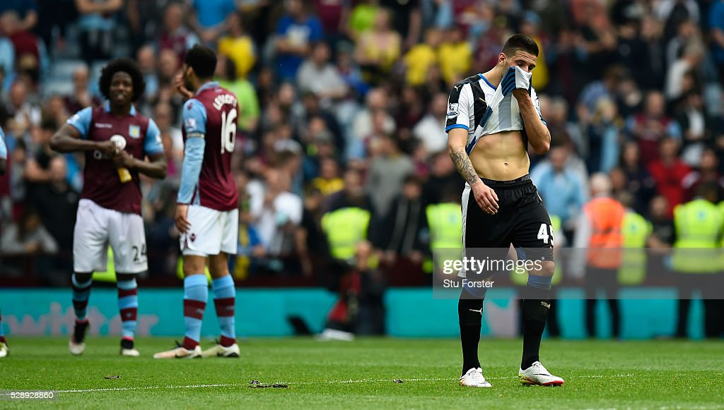 Newcastle player Aleksander Mitrovic reacts after the Barclays Premier League match between Aston Villa and Newcastle United at Villa Park on May 7, 2016 in Birmingham, United Kingdom.