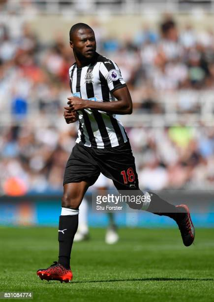 Newcastle player Chancel Mbemba in action during the Premier League match between Newcastle United and Tottenham Hotspur at St James Park on August...