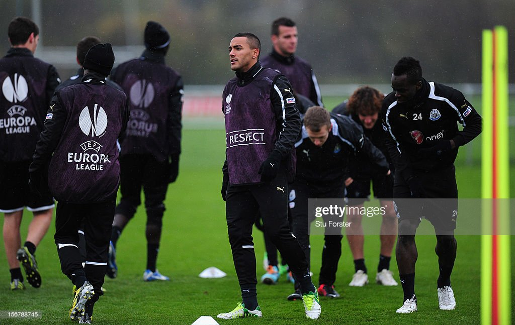 Newcastle player Danny Simpson (c) looks on during Newcastle United training ahead of thursday's UEFA Europa League match against Maritimo at The Little Benton training ground on November 21, 2012 in Newcastle upon Tyne, England.