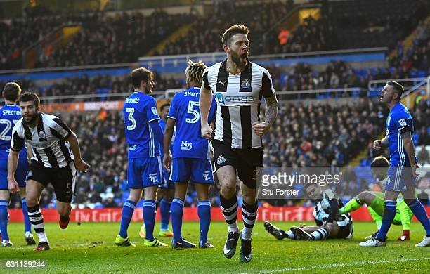 Newcastle player Daryl Murphy celebrates after scoring the opening goal as Aleksandar Mitrovic lays injured during The Emirates FA Cup Third Round...