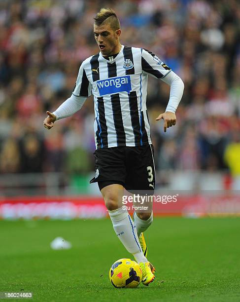 Newcastle player Davide Santon in action during the Barclays Premier League match between Sunderland and Newcastle United at Stadium of Light on...