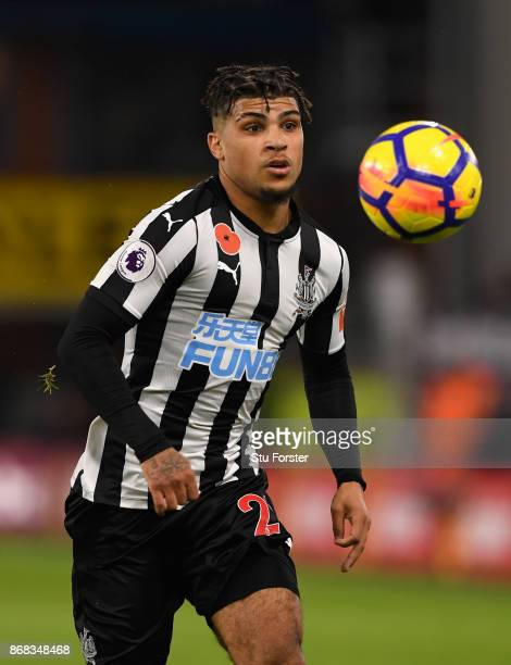 Newcastle player DeAndre Yedlin in action during the Premier League match between Burnley and Newcastle United at Turf Moor on October 30 2017 in...