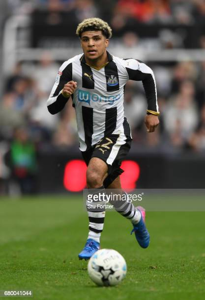 Newcastle player Deandre Yedlin in action during the Sky Bet Championship match between Newcastle United and Barnsley at St James' Park on May 7 2017...