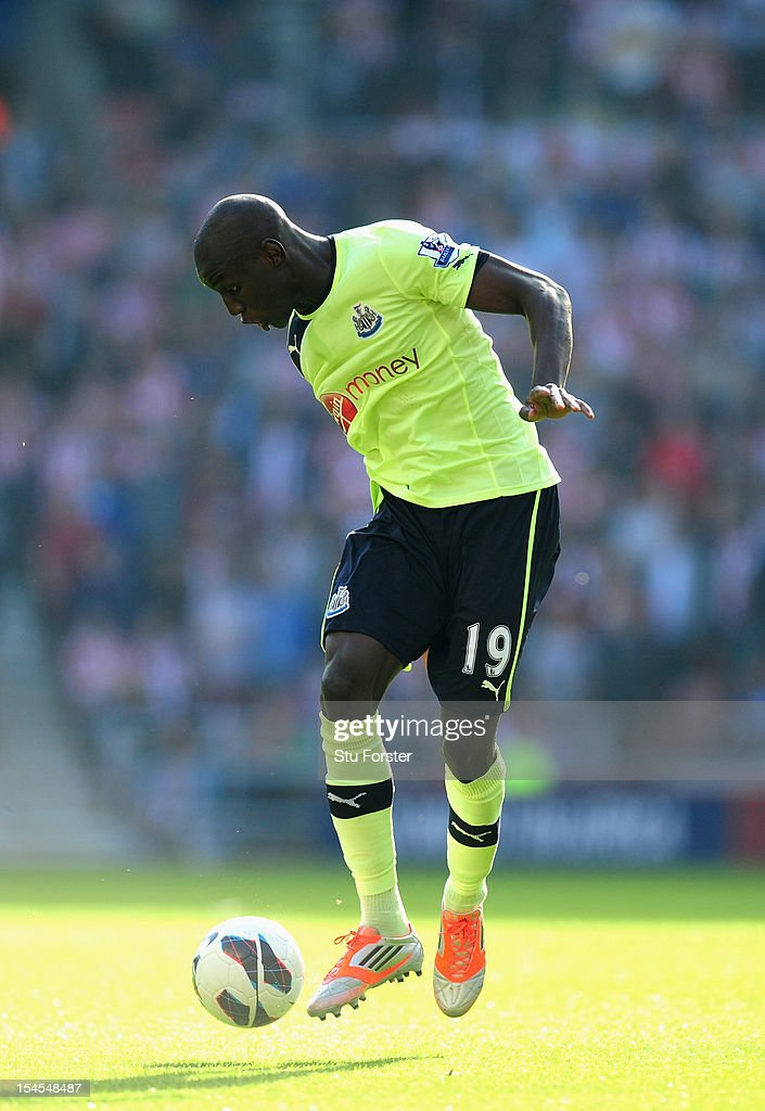 Newcastle player Demba Ba in action during the Barclays Premier league match between Sunderland and Newcastle United at Stadium of Light on October 21, 2012 in Sunderland, England.