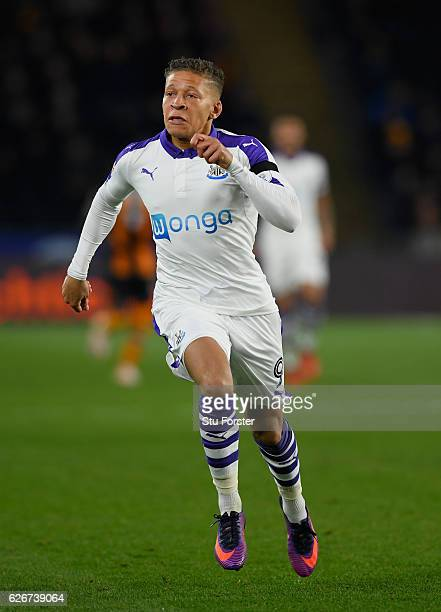 Newcastle player Dwight Gayle in action during the EFL Cup QuarterFinal match between Hull City and Newcastle United at KCOM Stadium on November 29...