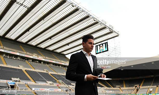 Newcastle player Florian Thauvin arrives at the stadium before the Barclays Premier League match between Newcastle United and Liverpool at St James'...
