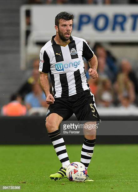 Newcastle player Grant Hanley in action during the EFL Cup Round Two match between Newcastle United and Cheltenham Town at St James Park on August 23...