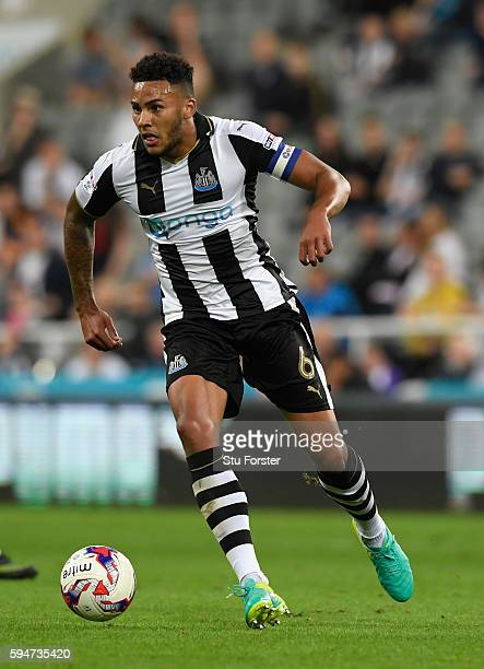 Newcastle player Jamaal Lascelles in action during the EFL Cup Round Two match between Newcastle United and Cheltenham Town at St James Park on...