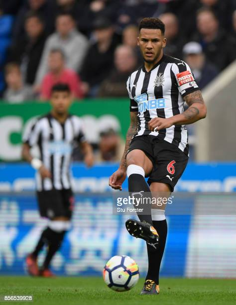Newcastle player Jamaal Lascelles in action during the Premier League match between Newcastle United and Liverpool at St James Park on October 1 2017...