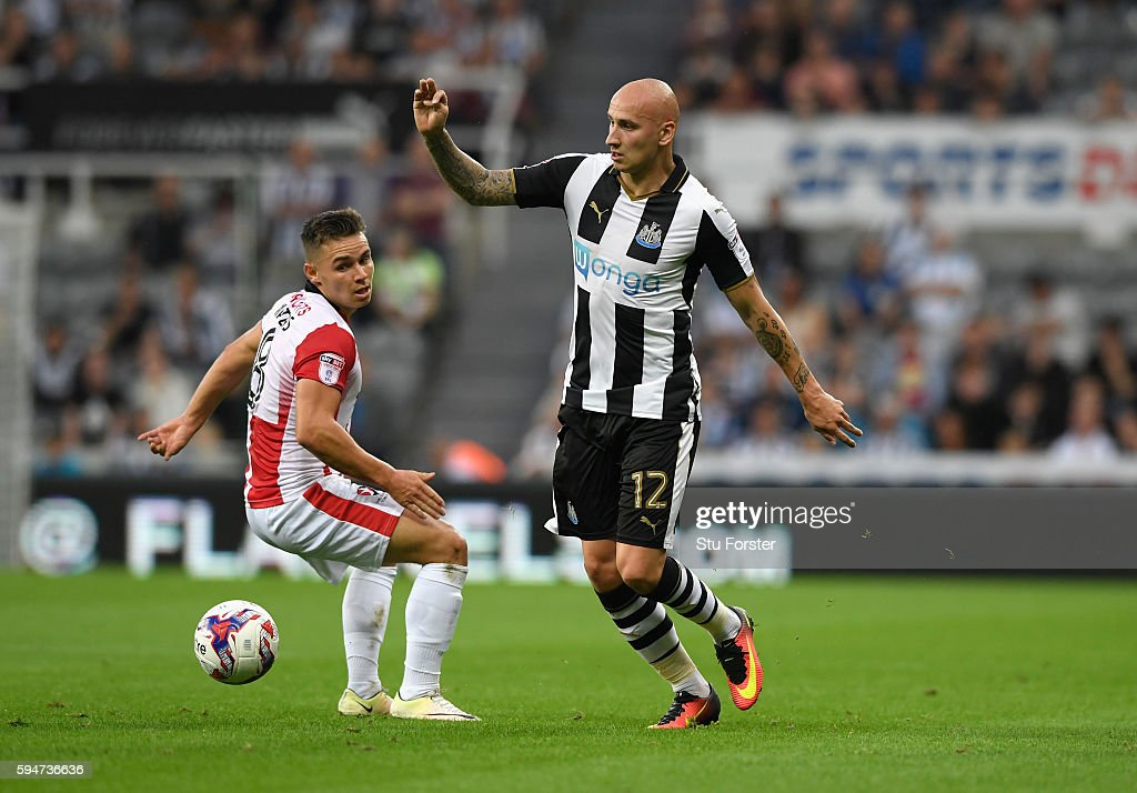 Newcastle player Jonjo Shelvey in action during the EFL Cup Round Two match between Newcastle United and Cheltenham Town at St. James Park on August 23, 2016 in Newcastle upon Tyne, England.