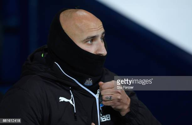 Newcastle player Jonjo Shelvey looks on from the substitute bench before the Premier League match between West Bromwich Albion and Newcastle United...