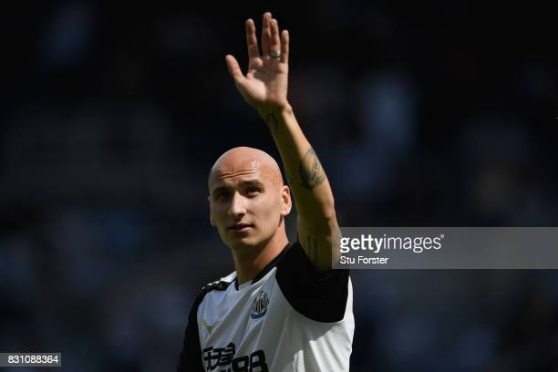 Newcastle player Jonjo Shelvey reacts before the Premier League match between Newcastle United and Tottenham Hotspur at St James Park on August 13...