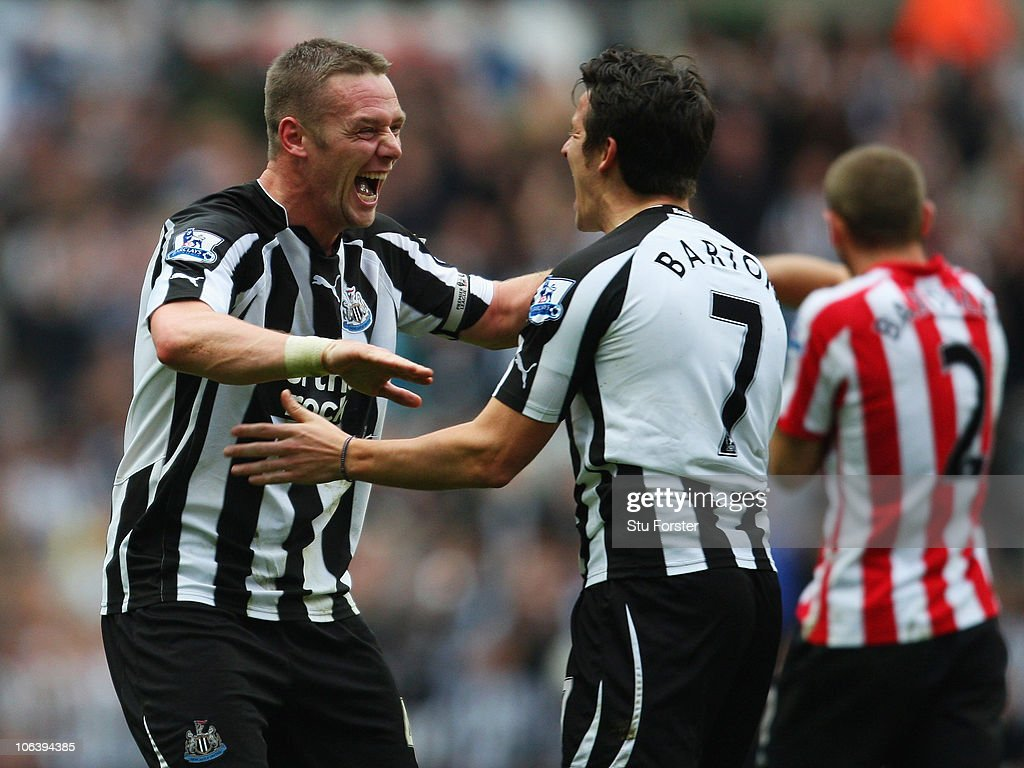 Newcastle player <a gi-track='captionPersonalityLinkClicked' href=/galleries/search?phrase=Kevin+Nolan&family=editorial&specificpeople=206775 ng-click='$event.stopPropagation()'>Kevin Nolan</a> (l) celebrates his first goal with <a gi-track='captionPersonalityLinkClicked' href=/galleries/search?phrase=Joey+Barton&family=editorial&specificpeople=211284 ng-click='$event.stopPropagation()'>Joey Barton</a> during the Barclays Premier League match between Newcastle United and Sunderland at St James' Park on October 31, 2010 in Newcastle upon Tyne, England.