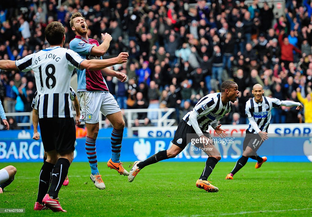 Newcastle player Loic Remy celebrates after scoring the winning goal during the Barclays Premier League match between Newcastle United and Aston Villa at St James' Park on February 23, 2014 in Newcastle upon Tyne, England.