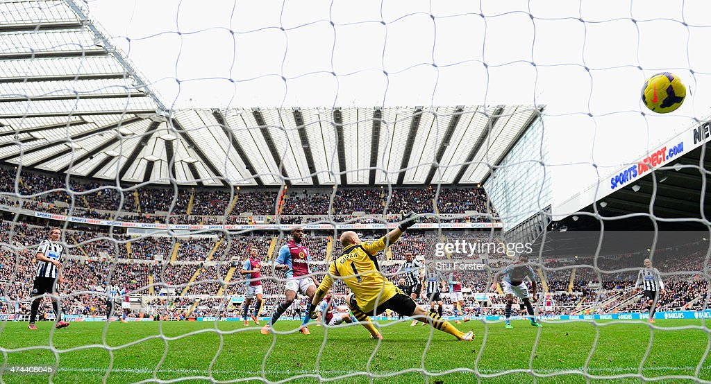 Newcastle player Loic Remy (c) scores the winning goal past Brad Guzan during the Barclays Premier League match between Newcastle United and Aston Villa at St James' Park on February 23, 2014 in Newcastle upon Tyne, England.