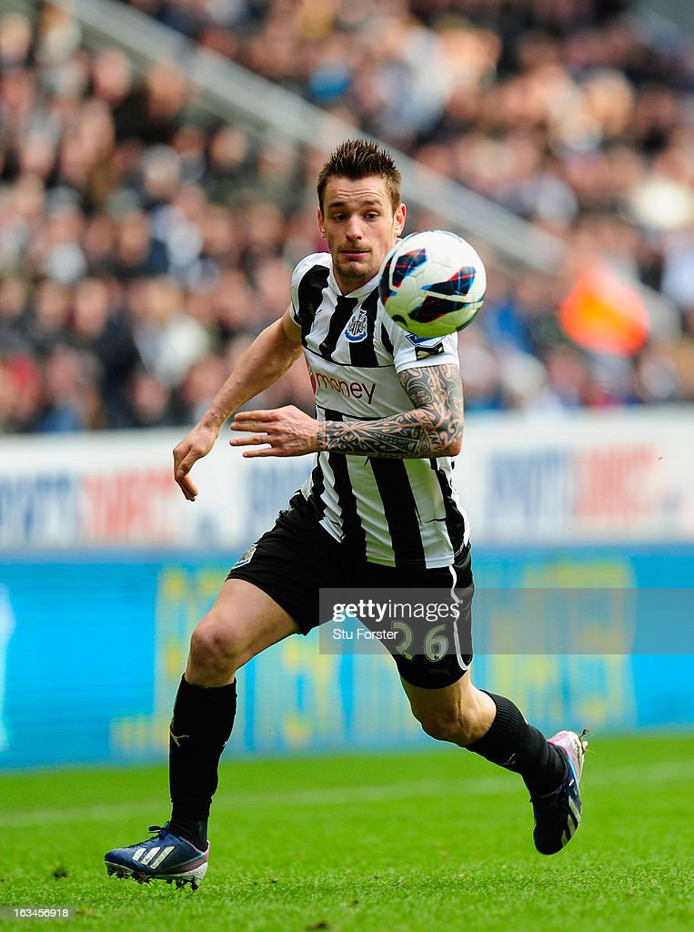Newcastle player Mathieu Debuchy in action during the Barclays Premier League match between Newcastle United and Stoke City at St James' Park on March 10, 2013 in Newcastle upon Tyne, England.