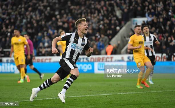 Newcastle player Matt Ritchie celebrates his goal during the Sky Bet Championship match between Newcastle United and Preston North End at St James'...