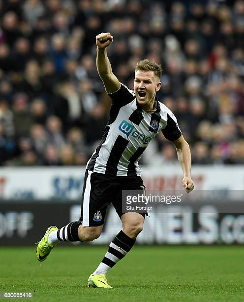 Newcastle player Matt Ritchie celebrates his opening goal during the Sky Bet Championship match between Newcastle United and Nottingham Forest at St...