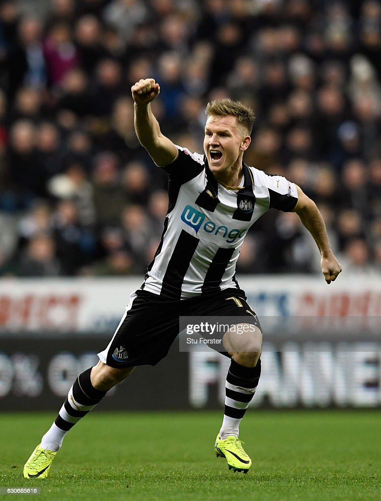 Newcastle player Matt Ritchie celebrates his opening goal during the Sky Bet Championship match between Newcastle United and Nottingham Forest at St James' Park on December 30, 2016 in Newcastle upon Tyne, England.