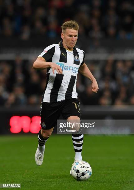 Newcastle player Matt Ritchie in action during the Sky Bet Championship match between Newcastle United and Leeds United at St James' Park on April 14...