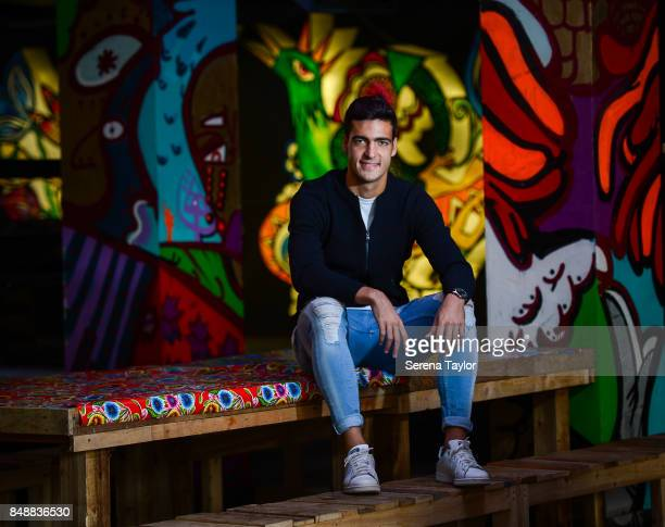 Newcastle Player Mikel Merino poses for photographs during a photoshoot at Latin themed cultural hub called Kommunity on September 11 in Newcastle...