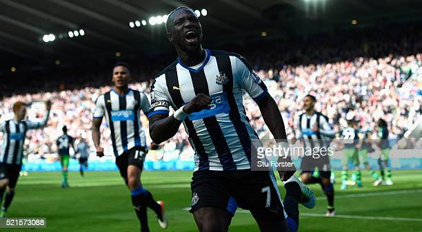 Newcastle player Moussa Sissoko celebrates after scoring the second Newcastle goal during the Barclays Premier League match between Newcastle United...