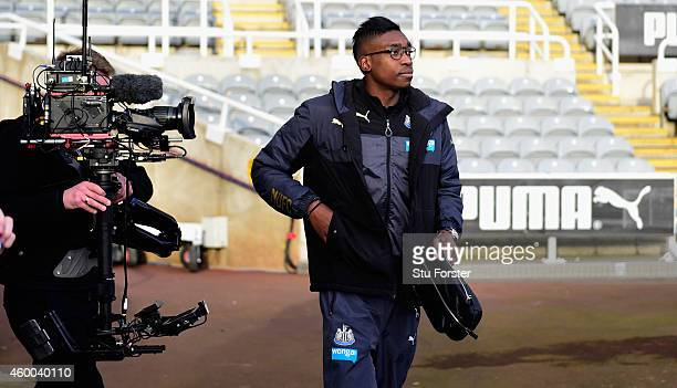 Newcastle player Sammy Ameobi arrives at the stadium before the Barclays Premier League match between Newcastle United and Chelsea at St James' Park...