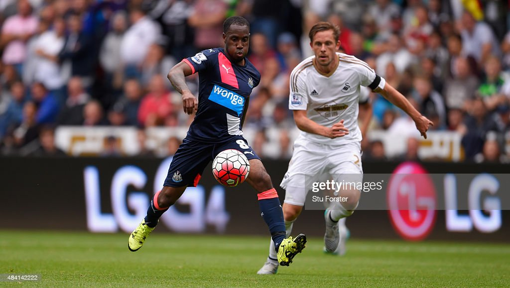 Newcastle player Vurnon Anita in action during the Barclays Premier League match between Swansea City and Newcastle United at the Liberty stadium on August 15, 2015 in Swansea, United Kingdom.