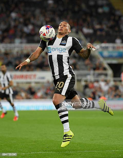 Newcastle player Yoan Gouffran in action during the EFL Cup Round Two match between Newcastle United and Cheltenham Town at St James Park on August...