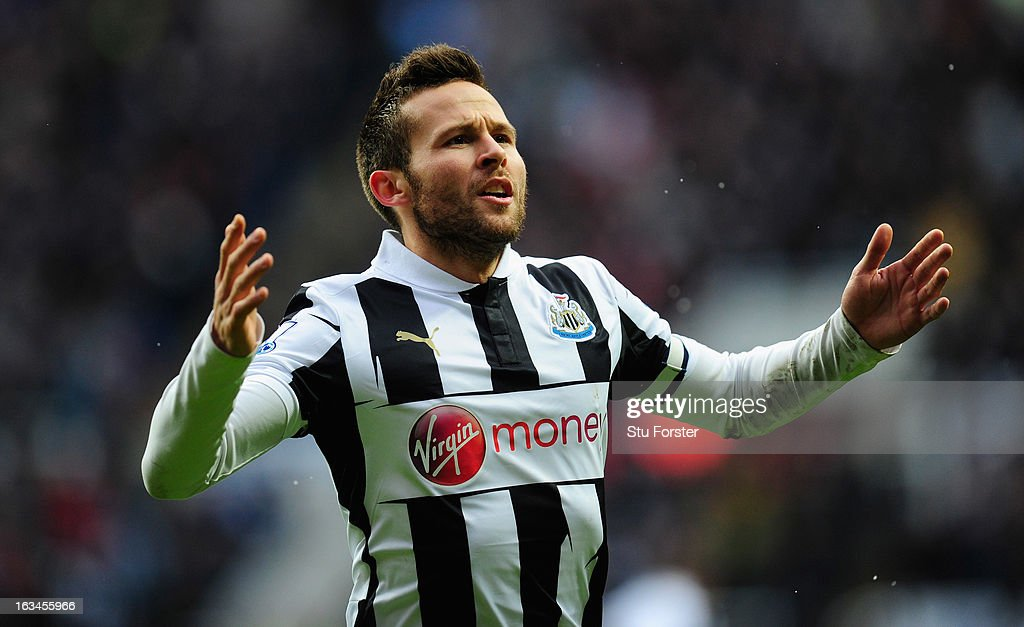 Newcastle player <a gi-track='captionPersonalityLinkClicked' href=/galleries/search?phrase=Yohan+Cabaye&family=editorial&specificpeople=648909 ng-click='$event.stopPropagation()'>Yohan Cabaye</a> celebrates his goal during the Barclays Premier League match between Newcastle United and Stoke City at St James' Park on March 10, 2013 in Newcastle upon Tyne, England.