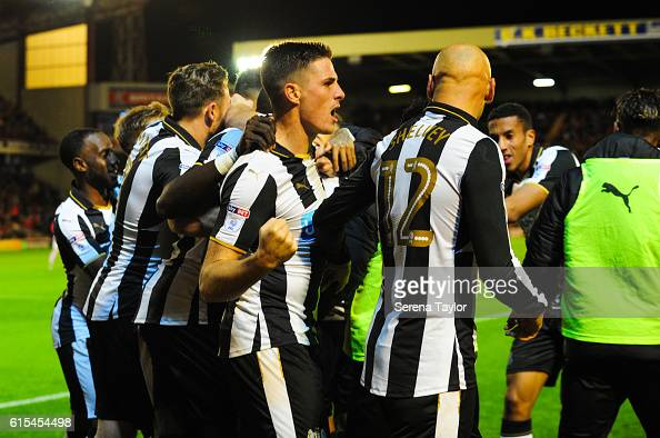 Newcastle players celebrate after Dwight Gayle scores the opening goal past Barnsley Goalkeeper Adam Davies during the Sky Bet Championship Match...