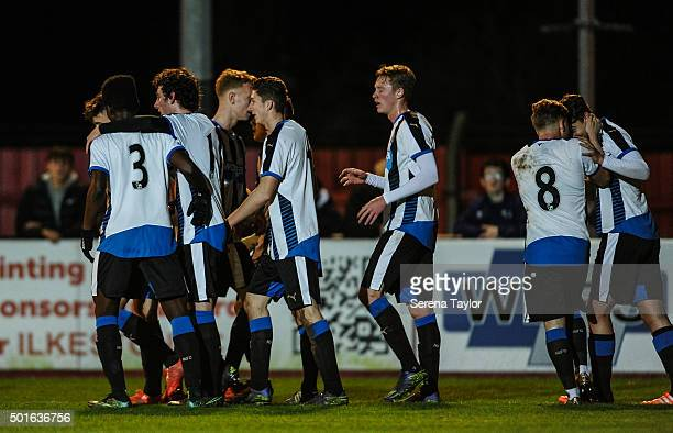 Newcastle players celebrate after Lewis McNall scores the opening goal during the U18 FA Youth Cup Match between Ilkeston and Newcastle United at The...