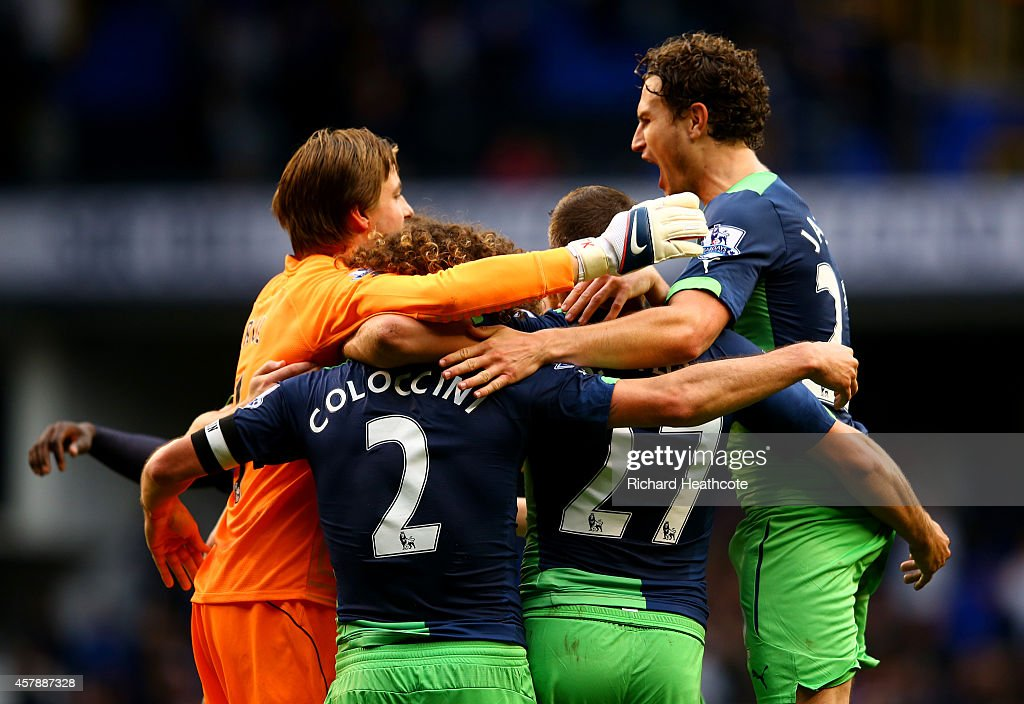Newcastle players celebrate victory after the Barclays Premier League match between Tottenham Hotspur and Newcastle United at White Hart Lane on...