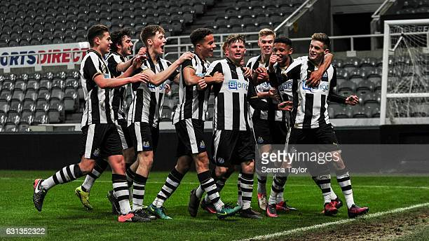 Newcastle players celebrate with Thomas Allan after he scores Newcastle's third goal during the FA Youth Cup between Newcastle United and Swansea...
