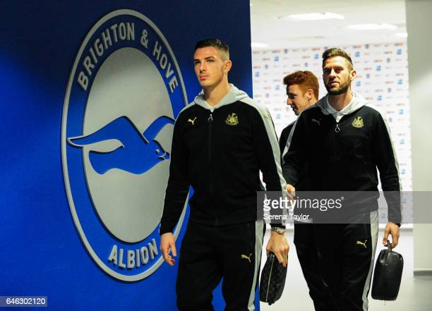 Newcastle Players Ciaran Clark and Daryl Murphy arrive prior to kick off of the Sky Bet Championship Match between Brighton Hove Albion and Newcastle...