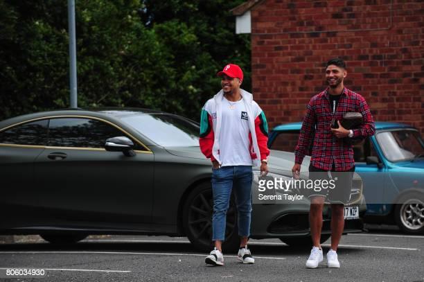 Newcastle players DeAndre Yedlin and Achraf Lazaar return to the Newcastle United Training Session at the Newcastle United Training Centre on July 3...