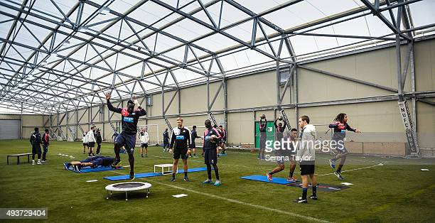 Newcastle Players do various drills indoors during the Newcastle United Training session at The Newcastle United Training Centre on October 22 in...