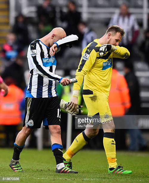 Newcastle players Jonjo Shelvey and Rob Elliott leave the field after the Barclays Premier League match between Newcastle United at AFC Bournemouth...