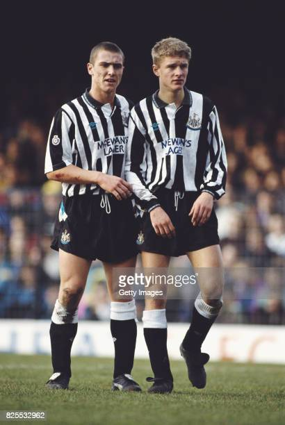 Newcastle players Lee Clark and Lee Makel form a wall during a second division match against Southend United at Roots Hall on January 1 1992 in...