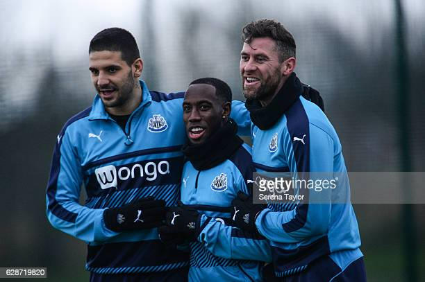Newcastle players seen Aleksandar Mitrovic Vurnon Anita and Daryl Murphy smile during Newcastle United Training Session at The Newcastle United...