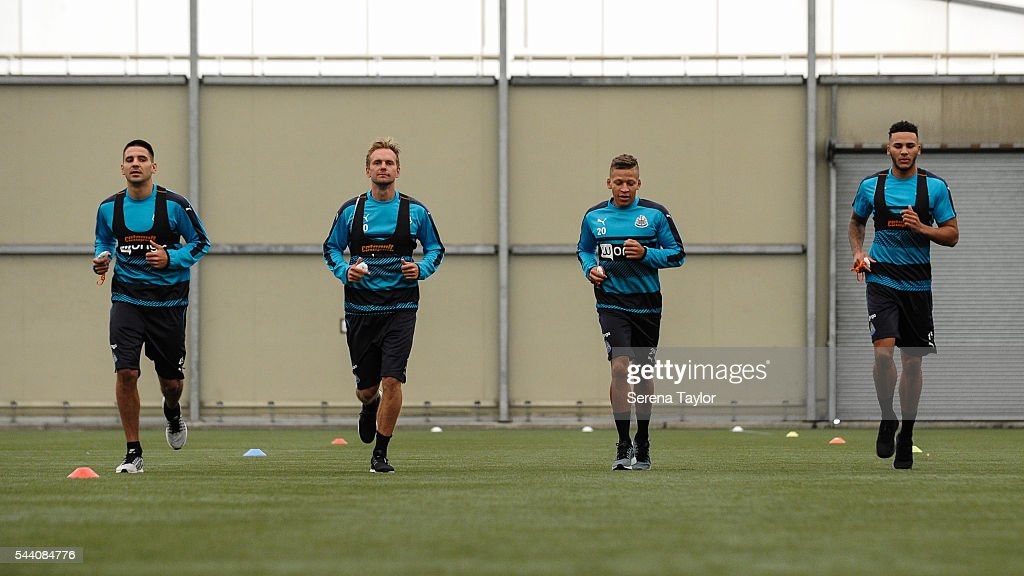 Newcastle Players seen L-R Aleksandar Mitrovic, Siem de Jong, Dwight Gale and Jamaal Lascelles run during the fitness testing on the first day back at The Newcastle United training Centre on July 1, 2016 in Newcastle upon Tyne, England.