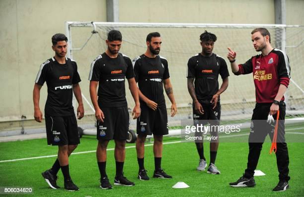 Newcastle players seen LR Ayoze Perez Achraf Lazaar Jesus Gamez Rolando Aarons line up to start testing with Newcastle United's Sports Scientist...