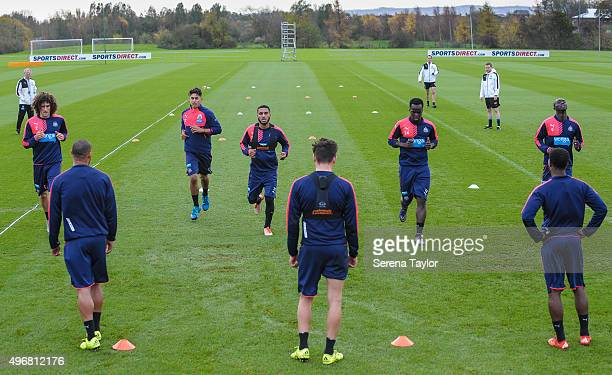 Newcastle Players seen LR Fabricio Coloccini Yoan Gouffran Ayoze Perez Sylvain Marveaux Florian Thauvin Cheick Tiote Vurnon Anita and Papiss Cisse...
