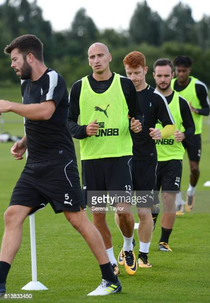 Newcastle Players seen LR Grant Hanley Jonjo Shelvey Jack Colback Adam Armstrong and Rolando Aarons warm up during the Newcastle United Training...